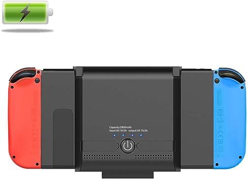 Funda de batería para interruptor de carga de teléfono móvil, para Nintendo Switch, batería de 5800 mAh, cargador portátil, batería de viaje, batería externa con función atril para carga de teléfono móvil:
