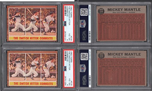 1962 Mickey Mantle (1962 Topps Regular (Baseball) Card# 318 Mickey Mantle i/a psa of the New York Yankees VGX Condition)