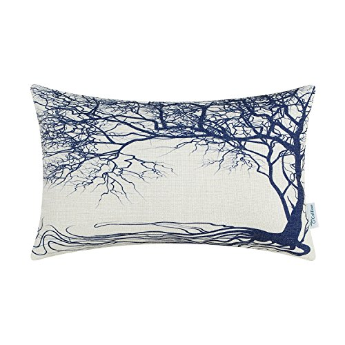 CaliTime Canvas Bolster Pillow Cover Case for Couch Sofa Home Decoration Vintage Big Old Tree 12 X 20 inches Navy Blue