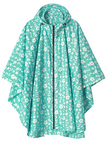 Jacket Waterproof Womens Breathable (LINENLUX Waterproof Rain Poncho Jacket Coat for Adults Hooded with Zipper(Blue Floral))