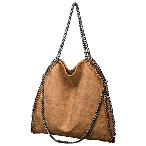 TOYIS Women Chain Strap Hobo Handbag Large Casual Totes PU Leather Shoulder Bag for Shopping Travel Daily Use Khaki