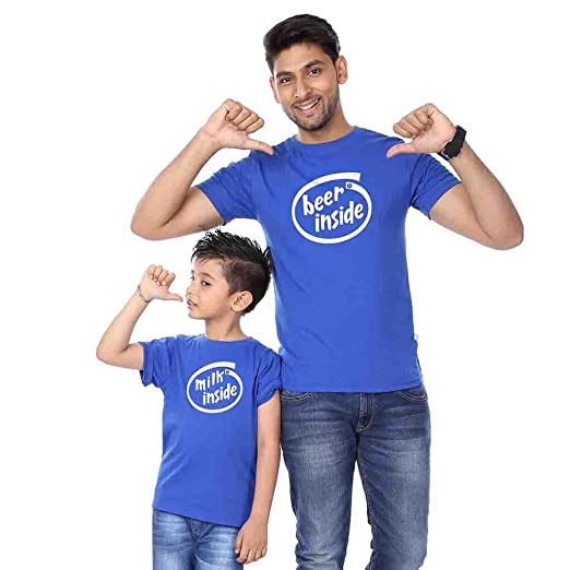 Amazon.com  BonOrganik Royal Blue Beer Inside Father Son Tees  Clothing a85132b8fd54