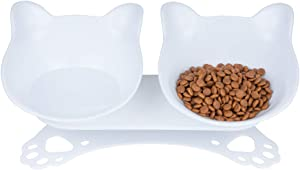 Pantula Cat Bowls Tilted cat Food Bowls Raised cat Food Bowl Pet Double 15° Slanted Plastic cat Bowls Elevated with Non-Slip Rubber Base Stand for Cats