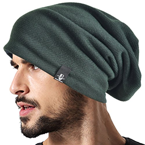 VECRY Men's Cool Cotton Beanie Slouch Skull Cap Long Baggy Hip-hop Winter Summer Hat B305 (Green) by VECRY