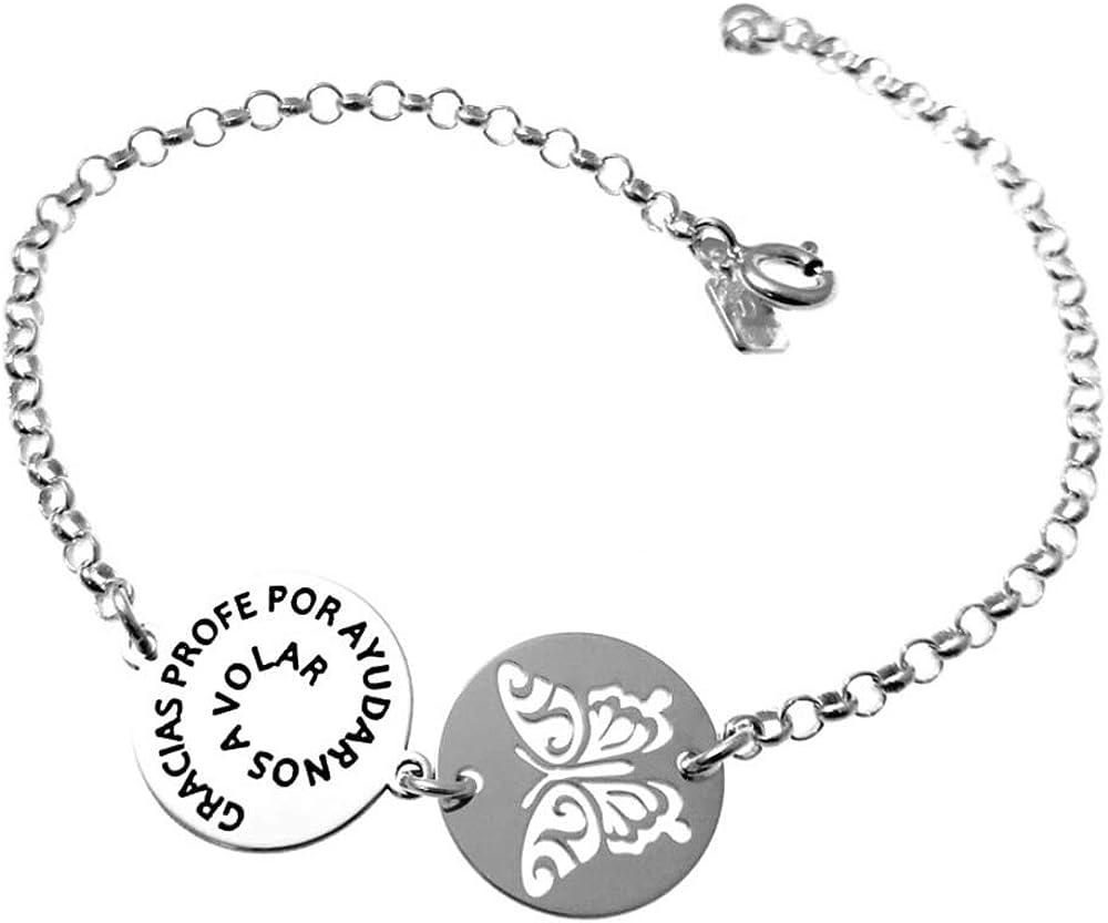 Minoplata Pulsera de Plata Mariposa Gracias profe por ayudarnos a Volar un diseño Precioso Ideal para Regalar a profesoras y maestras en Fin de Curso o para una ocasión Especial