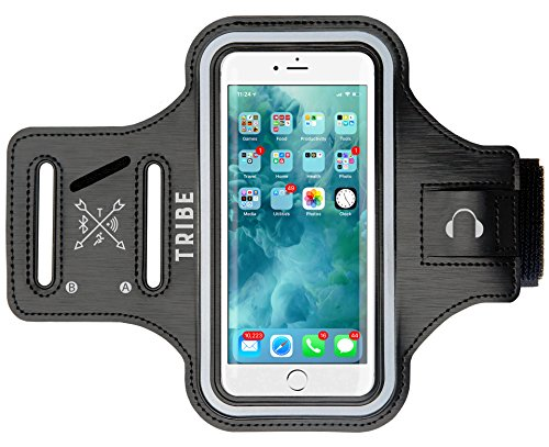 TRIBE Water Resistant Phone Armband for iPhone 8, 7, 6, 6S, Samsung Galaxy S9, S8, S7, S6 with Adjustable Elastic Band & Key Holder for Running, Walking, Hiking, Biking