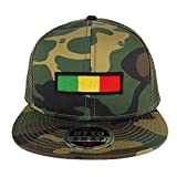 Rasta Green Yellow Red Embroidered Iron on Patch Camo Flat Bill Snapback Mesh Cap - OLIVE