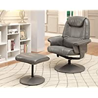 Furniture of America Hartford Leatherette Swivel Lounger with Ottoman, Gray