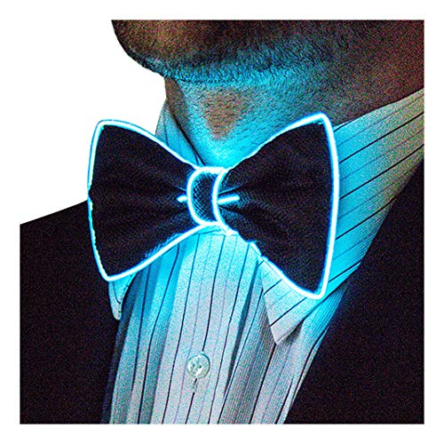 Neon Nightlife Light Up Bow Tie for Men, Aqua (Glasses With Bow)