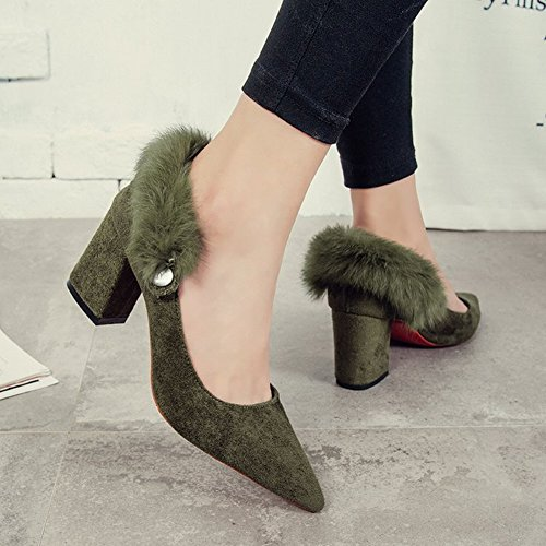Fashion with Pointed Heels Hairy green Shoes EUR35 High Commuter PXEH1UwqX
