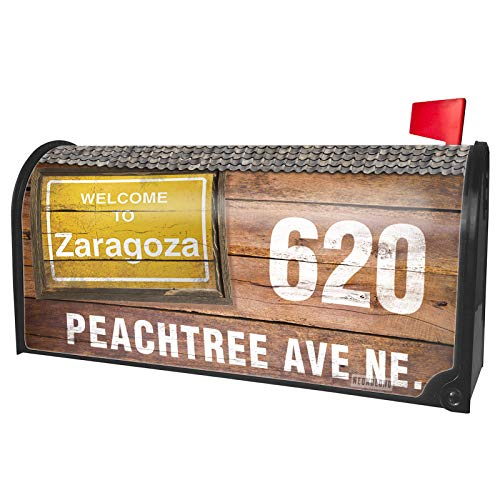 NEONBLOND Custom Mailbox Cover Yellow Road Sign Welcome to Zaragoza]()