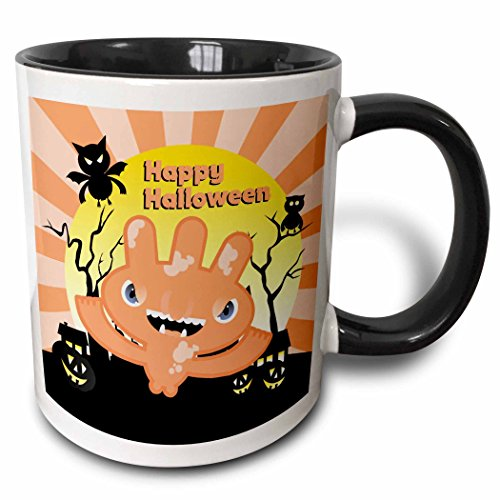 3dRose Belinha Fernandes - Halloween Celebration - Happy Halloween message and pale pink funny monster with owl and bat at night - 15oz Two-Tone Black Mug (mug_125911_9)