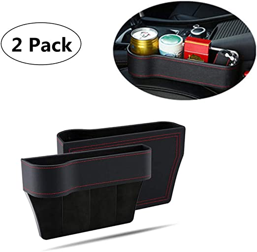 Black Car Seat Catcher,Auto Console Gap Slit Filling Organizer Phone Card Key Holder for Adults /& Kids Featuring 8 Storage Compartments