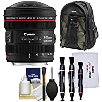 Canon EF 8-15mm f/4.0 L USM Fisheye Zoom Lens with Backpack + Cleaning Kit for DSLR Cameras