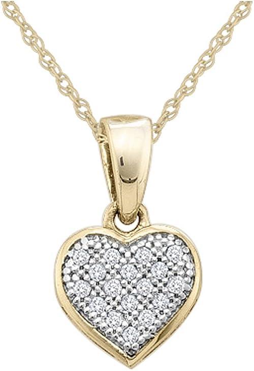 10k White Gold Round Diamond Heart Love Fashion Pendant 1//20 Ctw