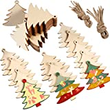 Tatuo 90 Pieces Unfinished Ornaments Christmas Wooden Ornaments Hanging Embellishments Crafts for DIY, Christmas Hanging Decoration (White Tree)