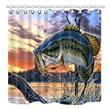 Bass Fishing Shower Curtain Ashasds Fishing Shower Curtain, Bass Fish with Hook Out of Ocean at Sunrise, Mildew Resistant Fabric Bathroom Decorations, Bath Curtains Hooks Included