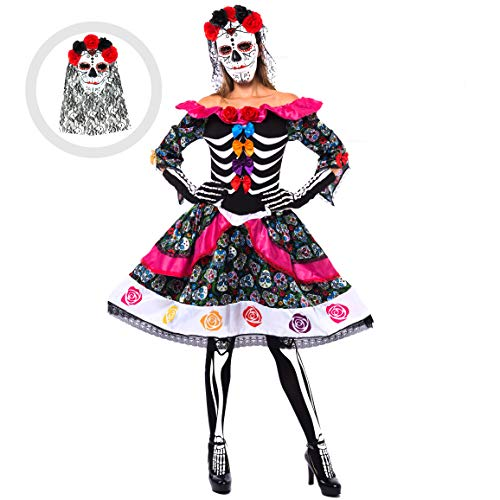 Spooktacular Creations Women's Day of The Dead Spanish Costume Set for Halloween Lady Dress Up Party, Dia de Los Muertos (Medium) Black -