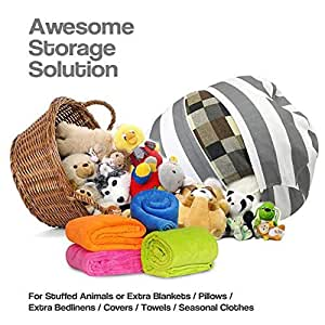 38 39 39 xl stuffed animal storage bean bag chair premium cotton canvas toy organizer for kid. Black Bedroom Furniture Sets. Home Design Ideas