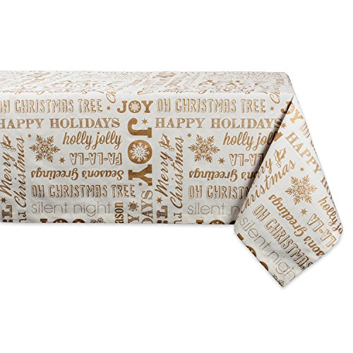 DII 100% Cotton, Machine Washable, Printed Metallic Holiday Tablecloth - 60x84 Seats 6 to 8 People, Gold Christmas Collage
