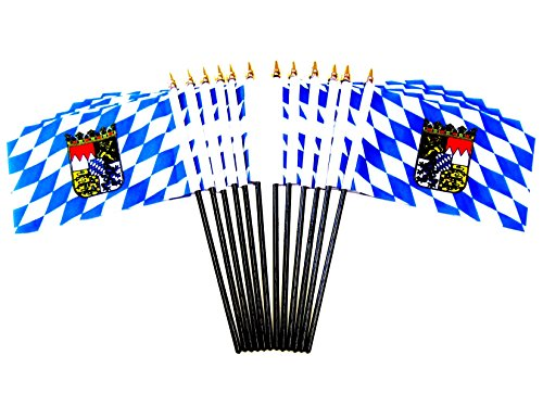 Pack of 12 4''x6'' Bavaria with Crest German Lander (State) Miniature Office Desk & Little Table Flags, 1 Dozen 4''x 6'' Bavaria Small Mini Handheld Waving Stick Flags by World Flags Direct