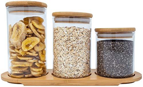 3 Piece Bamboo Airtight Glass Jar Organizer Set for Kitchen, Bathroom, Food Storage - BPA Free Eco-Friendly
