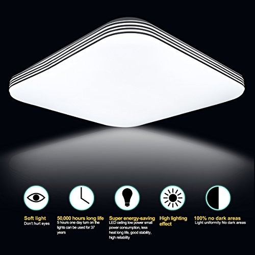 B-right 20W Square LED Flush Mount Ceiling Light, 5000K Cold White, 1400lm Super Bright, 13-Inch by B-right (Image #3)