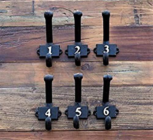 Vintage Numerical Metal Wall Hooks 1 through 6 - Set of 6