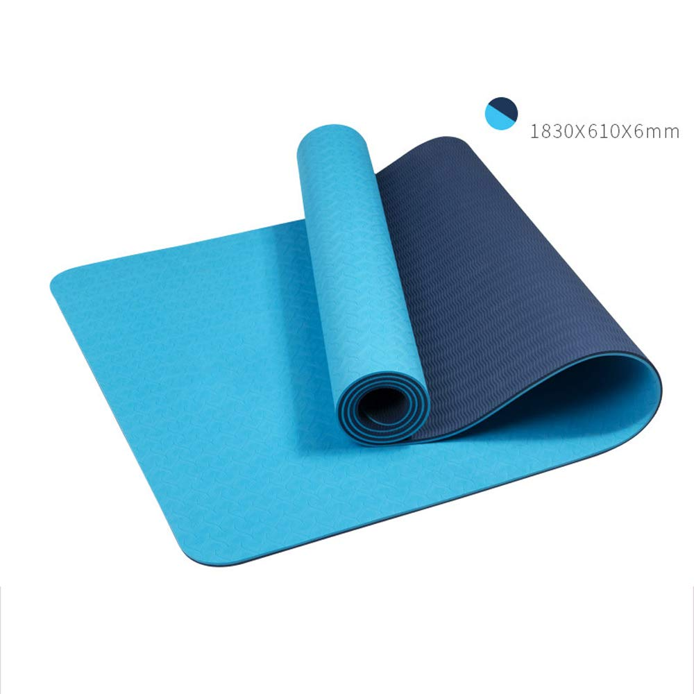 LS-Exercise Fitness Yoga Mat: Yoga Mat Thickening Widened Men and Women Beginners Fitness Multi-Function Double-Sided Non-Slip Yoga Mat [4 Color Optional]& (Color : Peacock Blue)