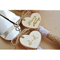 Wedding Cake Knife And Server Set Rustic, Rustic Burlap And Lace Cake cutting set, Personalized Wedding Decor (K105)