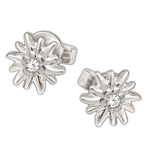 CLEVER SCHMUCK Silberne kleine Ohrstecker Blume Edelweiß 6 mm mit Zirkonia seidenmatt und glänzend STERLING SILBER 925 rhodiniert