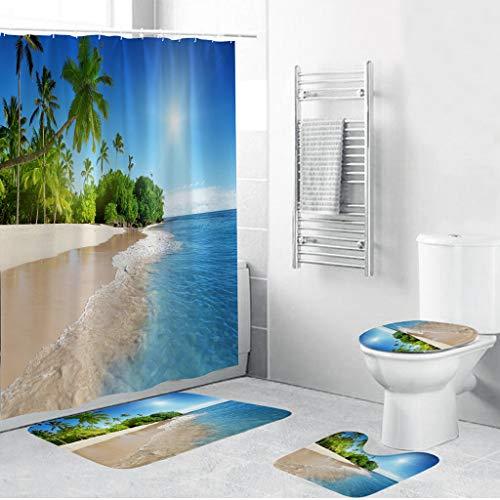 4PCS Shower Curtain Set, Jessie storee Bathroom Mat Dry and Wet Separation -