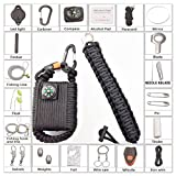tiny fire starter kit - PARACORD SURVIVAL KIT COMBO 2 IN 1 EDC FIRE STARTER EYE KNIFE BRACELET PLUS PARACHUTE CORD WRAPPED SURVIVAL FISHING KIT GRENADE POD WITH 30 GET HOME ITEMS & CARABINER SHACKLE COMPASS nTelithings