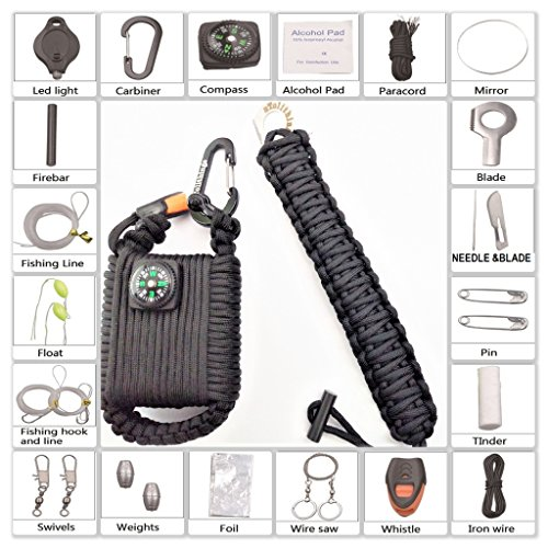 PARACORD SURVIVAL KIT COMBO 2 IN 1 EDC FIRE STARTER EYE KNIFE BRACELET PLUS PARACHUTE CORD WRAPPED SURVIVAL FISHING KIT GRENADE POD WITH 30 GET HOME ITEMS & CARABINER SHACKLE COMPASS nTelithings