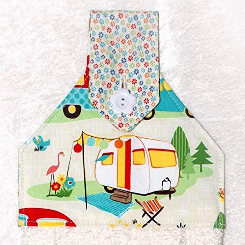 (Hanging Hand Towel For Kitchen or Bath - Retro Camping Print - RV Camping Decor - Cream Plush Towel)