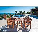 Malibu V189SET5 Eco-Friendly 5 Piece Wood Outdoor Dining Set For Sale