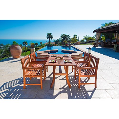 Malibu V189SET5 Eco-Friendly 5 Piece Wood Outdoor Dining Set For Sale