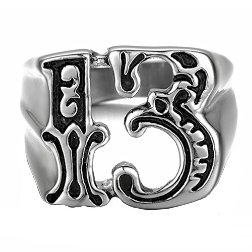 LILILEO Jewelry Stainless Steel Simple Number 13 Ring For Men's -