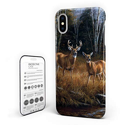 Customize Phone Protective Cover Wildlife Deer Safair in Stream River at Forest in Autumn Ultra Slim Protective Hard Plastic Case Cover for iPhone x ()