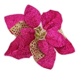 Bluelans Christmas Decorations, 21.5cm Christmas Tree Party Poinsettia Glitter Flower Xmas Window Decoration Xmas Gifts Xmas Stocking Fillers