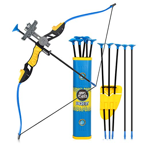 Goldboy Kids Bow and Arrows, Kids Archery Bow and Arrow Toy Set for Boys Girls Outdoor Garden Backyard Shooting Hunting Fun Sport Game with 12 Durable Suction Cup Arrows(Blue) -