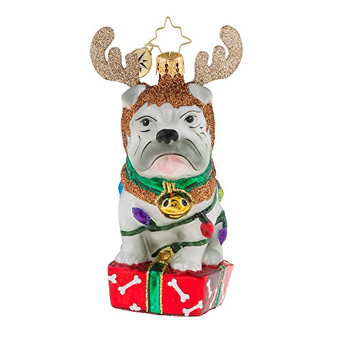 Deer Christopher Radko (Christopher Radko Deer Little Bull Dog Christmas Ornament)