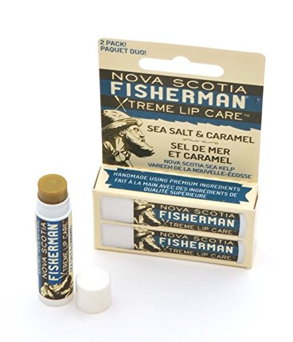 Nova Scotia Fisherman Sea Salt & Caramel Lip Balm (Pack of 2) with Beeswax, Jojoba Seed Oil, Shea Butter, Coconut Oil, Castor Oil, Grape Seed Oil, Olive Oil and Rosemary (Jojoba Oil Conditioning Lip Balm)