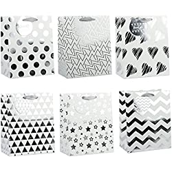 "LaRibbons Medium Silver Gift Bags - Polka Dot, Stripes, Chevron, Stars, Triangle - Gift Bag for Wedding, Birthday, Baby Shower, Party Favors, Christmas - 12 Pack - 8"" x 4.75"" x 10"""