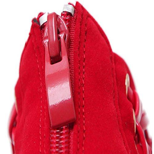 abierta GAOLIXIA sandalias cómodos nuevos tacón grueso zapatos de verano las rojo gamuza primavera de Tacones punta Black de mujeres y zapatos cristal altos de con negro nznRxq