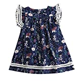 0-8T Kids Little Girls Fly Sleeve Floral Print Ruched Dresses Cute Loose O Neck Princess Dresses Outfits Clothes (Navy, 3-4 Years)