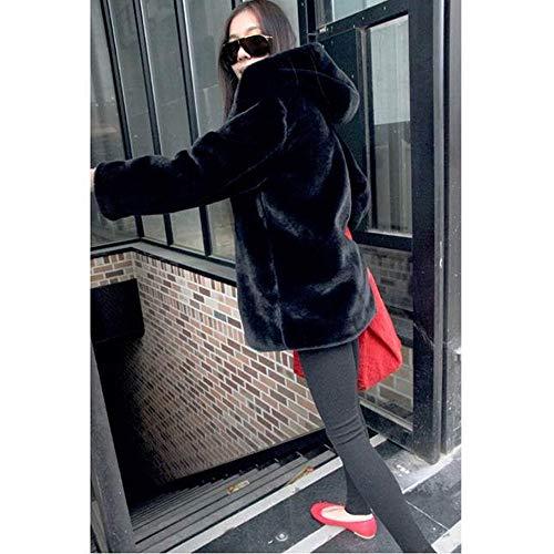 Noir Hiver Fourrure Manteau Femme En Capuche Automne Hiver Vestes Veste Beautyjourney Survêtement Veste À Court Élégante Hiver Élégant RFz6Tq