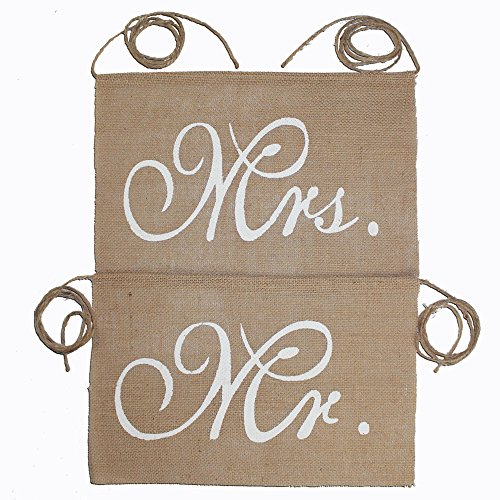 (Koker Mr and Mrs Chair Burlap Bunting Banner Chair Signs Garland for Vintage Rustic Wedding Decoration, Bridal Shower, Wedding Photo Booth Props Backdrop)
