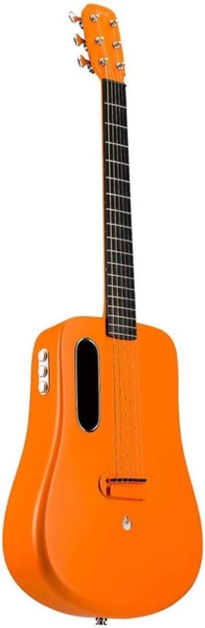 LOIKHGV Guitarras- Guitarra de 36 Pulgadas Guitarra de Fibra de Carbono de 6 Cuerdas con Estuche de Regalo, Orange Freebost, 36 Pulgadas