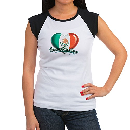 Royal Lion Women's Cap Sleeve T-Shirt Mexican Sweetheart Mexico Flag - Black/White, S (4-6) - Mexico Womens Cap Sleeve T-shirt